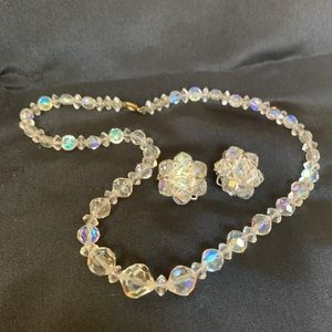 Cut Crystal Iridescent Beaded Necklace & Earrings